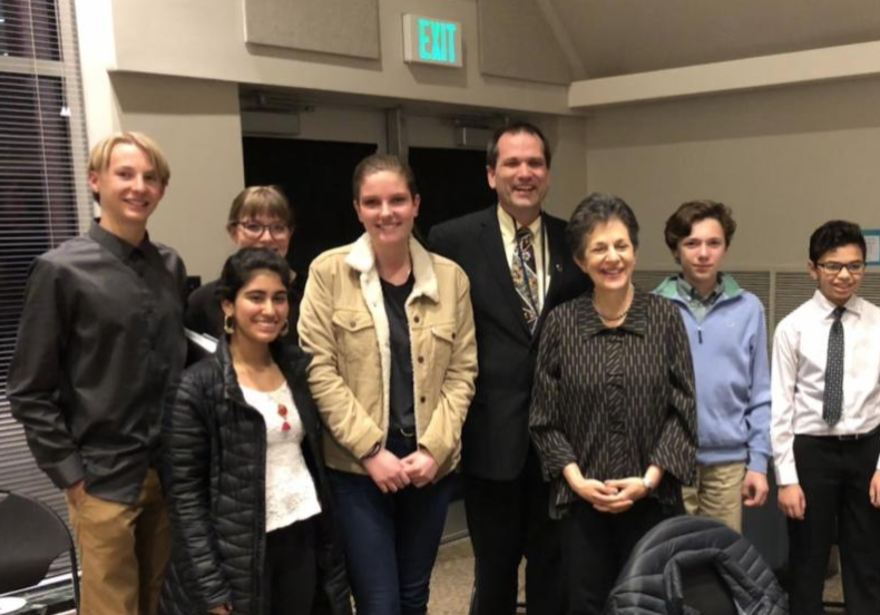 Rep. Arent, Rep. Ward, and Abigail Mower with students from West High School, the McGillis School and School for the Performing Arts at Climate Solutions for a Healthy Future hearing.