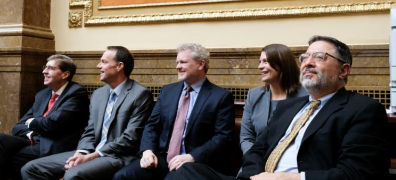 The Utah Supreme Court: Chief Justice Durrant, Associate Chief Justice Lee, Justice Pearce, Justice Petersen, and Justice Himonas