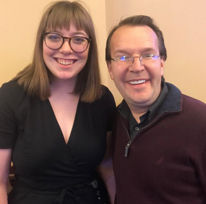 Intern Abigail Mower and Southern Utah University Education and Shakespeare Studies Director Michael Barr