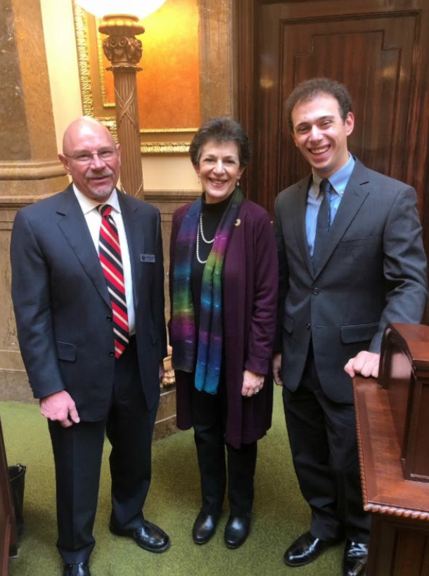 Mayor Jeff Silvestrini, who lead the pledge on Feb. 21st, Rep. Arent, and her son Josh Lipman, who gave the prayer.
