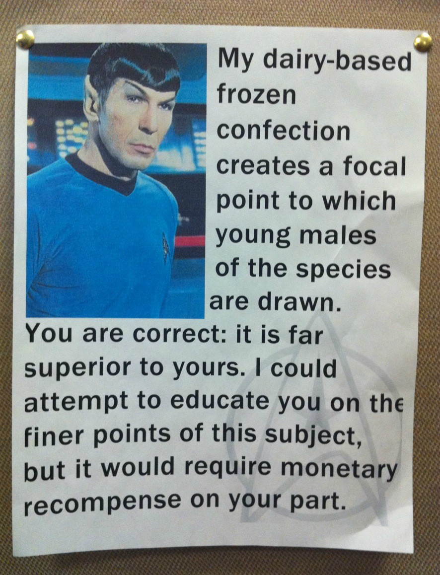 Spock's  take on milkshakes is too logical for this post.