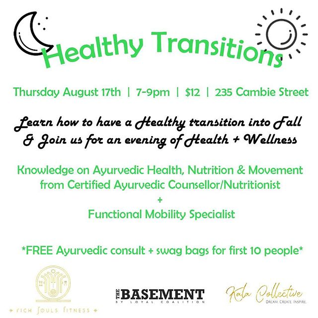 Get your tickets now - we're leading a workshop on healthy transitions into fall at @thebasement_byloyalcoalition with @akeemo.therapy on Thursday from 7-9PM! Learn how to better understand and fuel your body so you can put your best foot forward moving into fall ✨ $12 - limited space! . . . #vancity #ayurveda #workshop #natural #health #organic #healthandwellness #collab #excited #vancouverlife #yvr #gastown #downtownvancouver #vancityevents