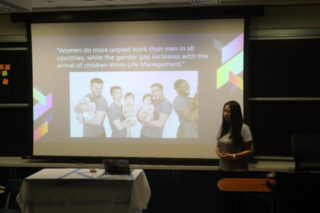 学员在展现她们小组的社会创新方案