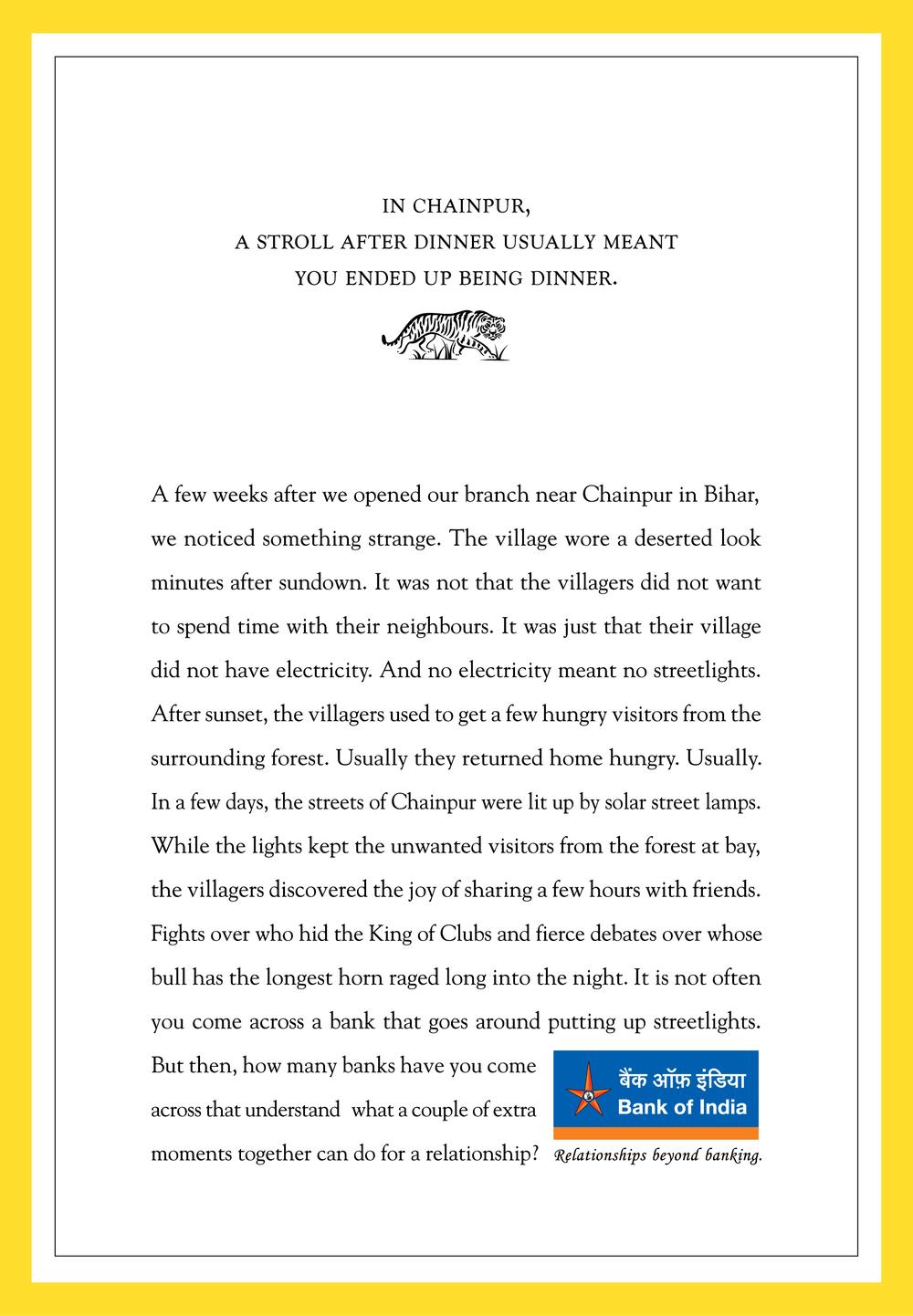 Bank of India Ad Print Campaign - Vinod Sudheer