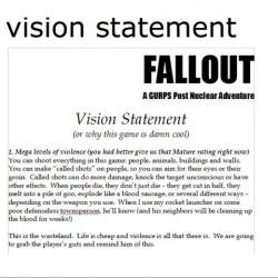 """Il """"vision statement"""" di Chris Taylor. Per qualche tempo si valutò anche la possibilità di realizzare un vero e proprio Wasteland 2, acquistandone la licenza."""