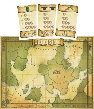 Una mappa e alcune carte del gioco: è tutto molto chiaro e semplice.