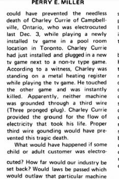 Il trafiletto sulla morte di Charley Currie.