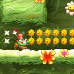 Raccogliendo la super  stella Yoshi corre all'impazzata anche su pareti e soffitti