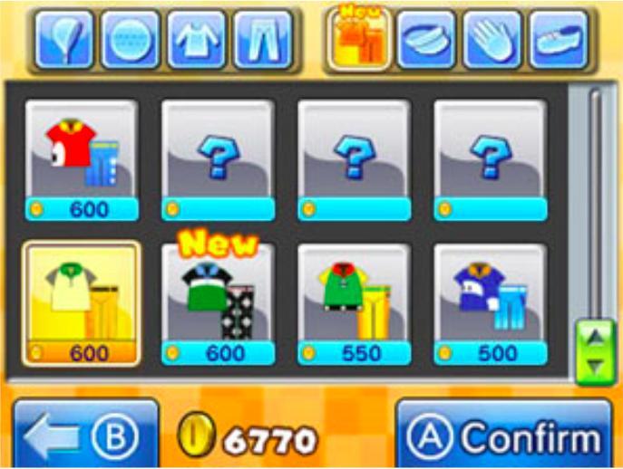 La schermata del negozio di attrezzature golfistiche, ci sono ben 8 categorie di oggetti che potete personalizzare sul vostro avatar! Dalle mazze all'abbigliamento!