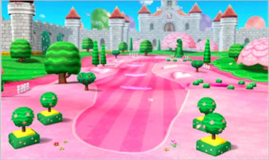 Il campo rosa shocking di Peach ha dei turbo sul Freeway che permettono di realizzare dei drive lunghissimi!