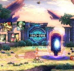 La schermata di transizione della modalità All-Star. Qui ci sono gli oggetti di cura, si possono trovare dei trofei e i personaggi sullo sfondo sono i prossimi avversari, tutti divisi per annata.