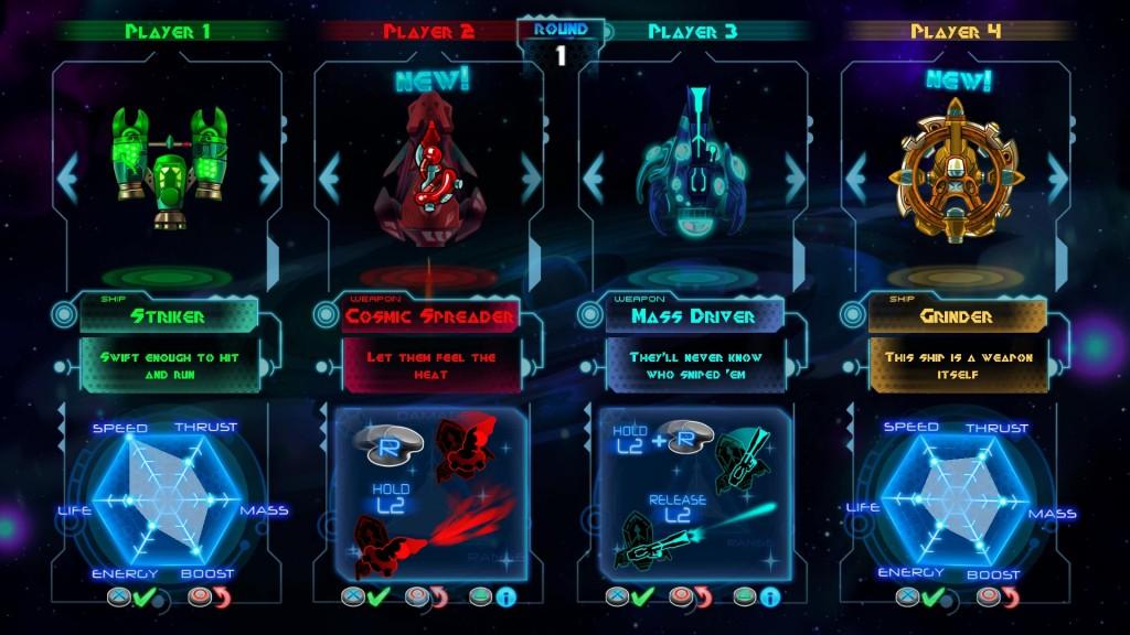 Le chele della Striker permettono di non danneggiarsi urtando gli asteroidi frontalmente, in modo tale da poterli anche usare come arma pressandoli verso gli avversari.