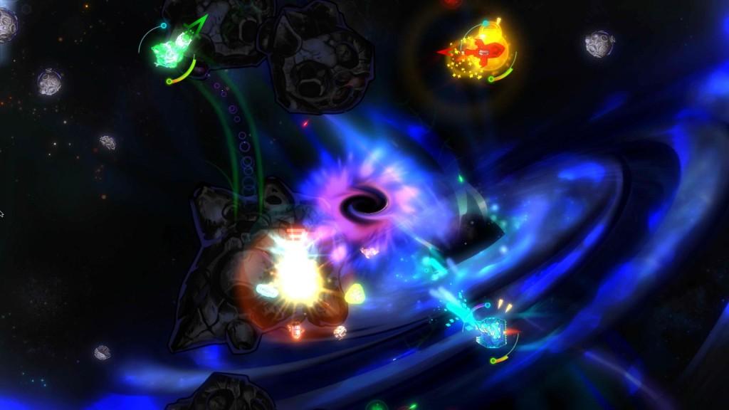 Potete provare ad entrare in un buco nero a vostro rischio e pericolo: potreste trovarci dentro dei power-up così come anche degli asteroidi.