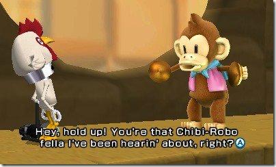 """1) Una scimmia richiede snack ad un Chibi-Robo! vestito da pollo. Le """"skin"""" si sbloccano rigiocando i livelli e contando su un fattore casuale. Quasi mi dispiace non aver rigiocato i livelli nella speranza di sbloccare questo costume... o forse no."""