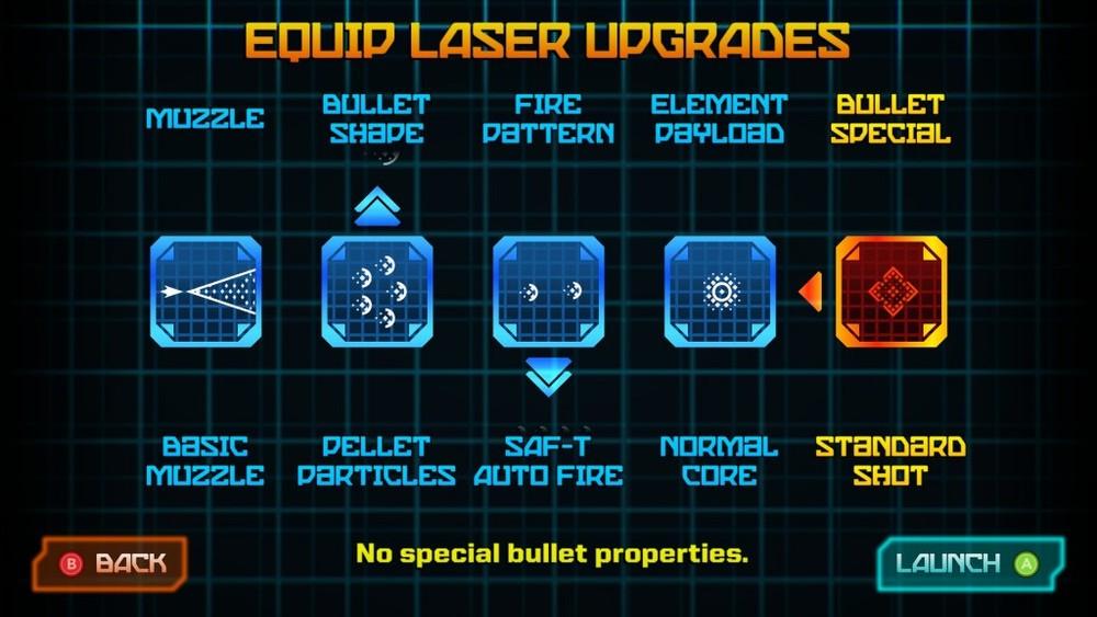 La scelta dell'equipaggiamento riguarda esclusivamente la forma veicolare del Galak-Z. Le armi del mech sono sempre le stesse.