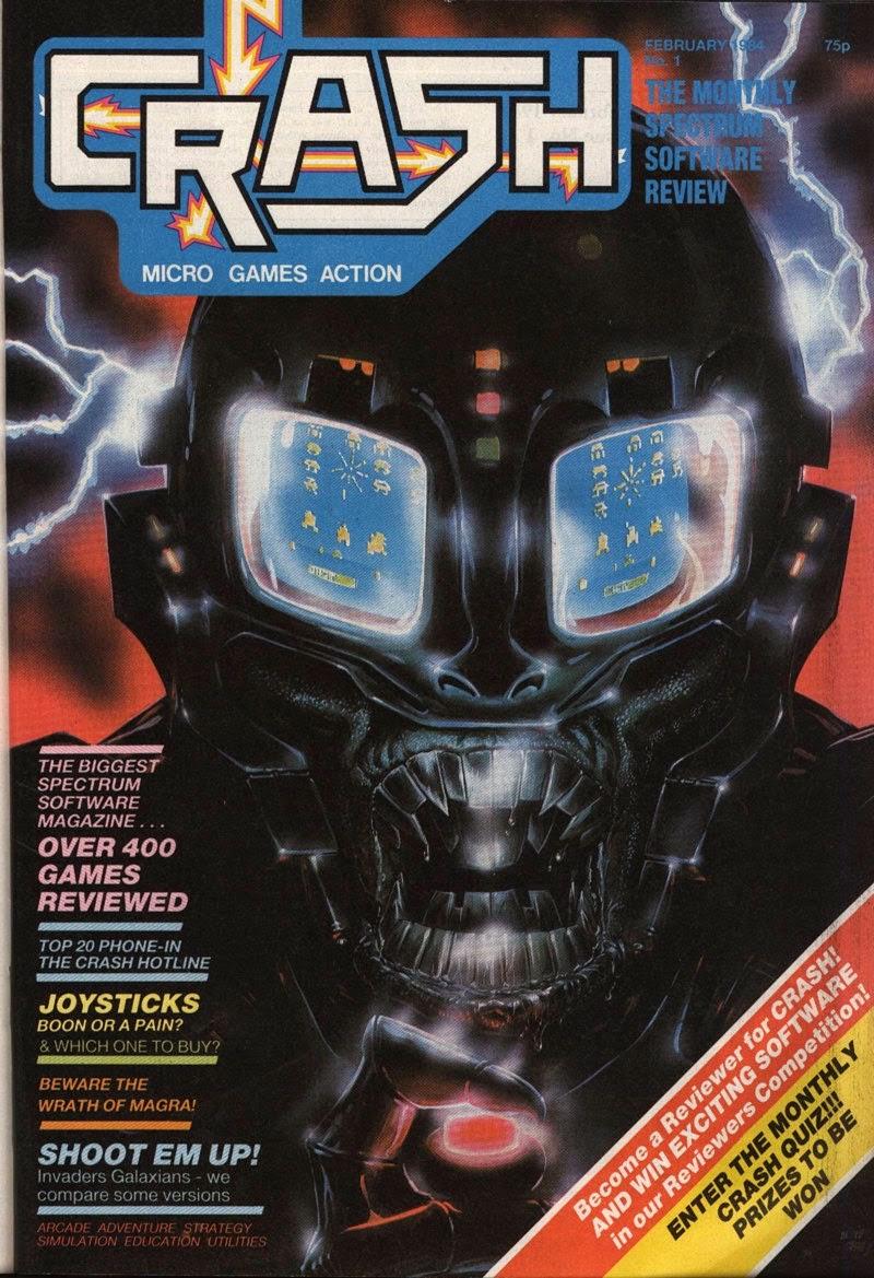 L'inquietante copertina del primo numero di  CRASH .