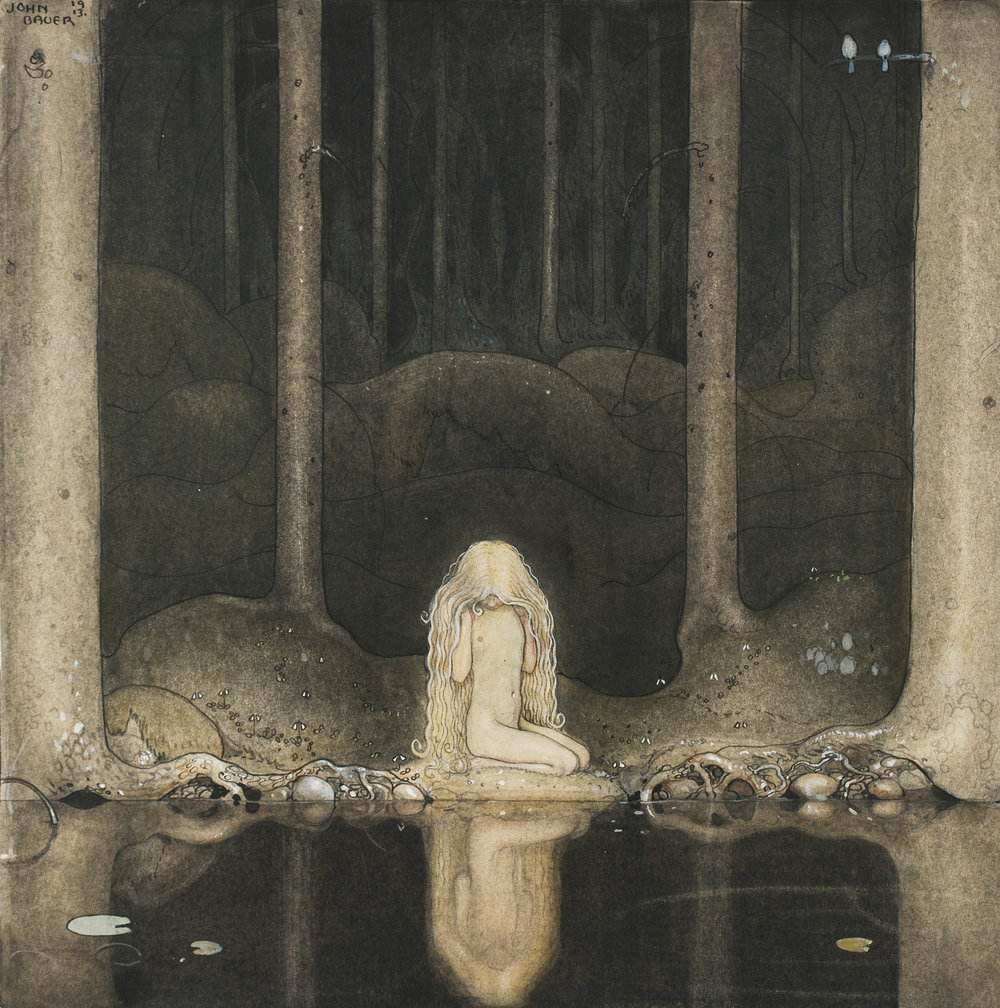 John Bauer, Tuvstarr is still sitting there wistfully looking into the water.