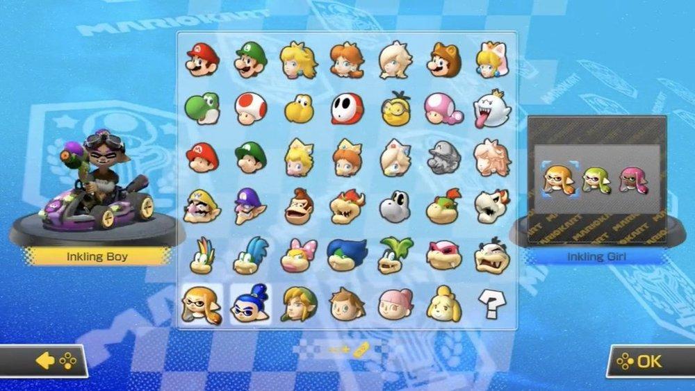 La schermata di selezione del personaggio è bella affollata.