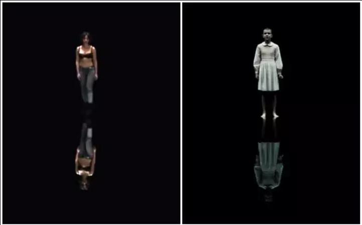 Sopra, a sinistra,  Stranger Things . A destra, Stranger Things .
