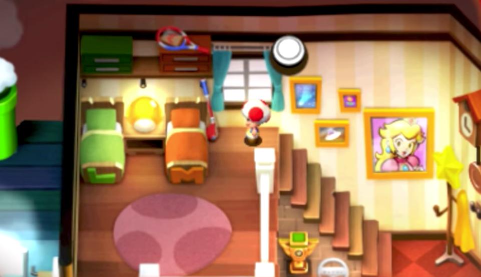 Notare alcuni utensili familiari in casa di Mario e Luigi.