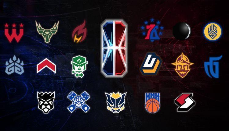I loghi delle diciassette franchigie partecipanti alla prima stagione della NBA 2K League.