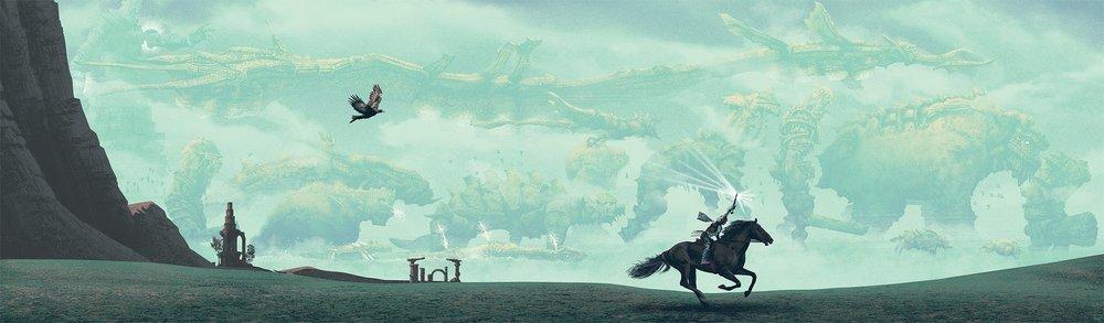 Wander mentre cavalca con i colossi sullo sfondo, in una bella illustrazione di Mark Englert.