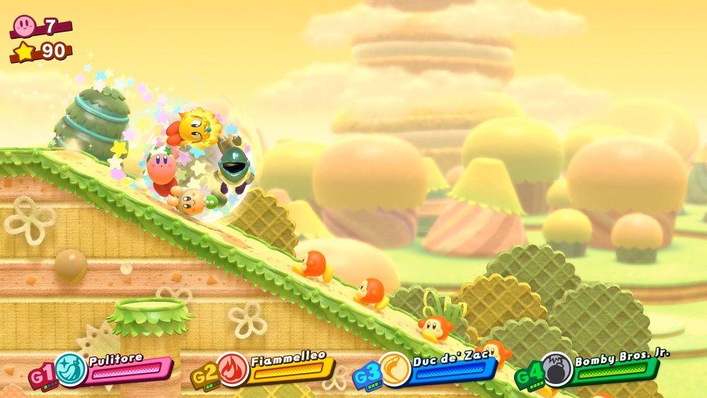 Il gruppo di Kirby, in certe parti di livello, può assumere delle formazioni speciali. Purtroppo, è una cosa al 100% scriptata, per cui, alla fin fine, funzionano come dei minigiochi.