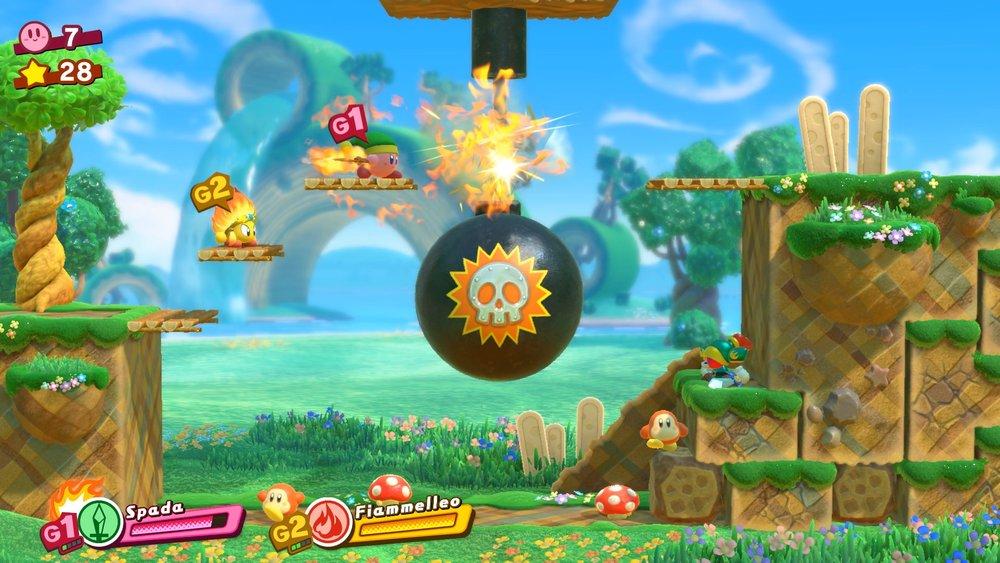 Un esempio di enigma: solo certi poteri possono tagliare la corda della bomba, per cui è importante avere una squadra sempre ben assortita, quando si viaggia nei mondi di gioco.