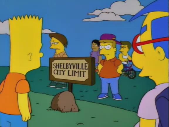 La proverbiale amichevole accoglienza dei cittadini di Shelbyville.