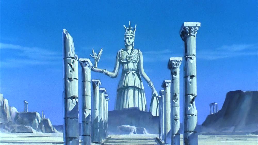 La statua di Atena nei pressi del Grande Tempio, così come appariva ai tempi del sacerdozio di Arles.
