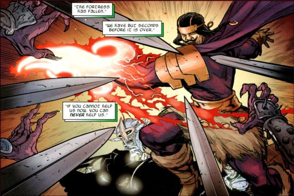 Coerentemente con la tradizione norrena, il Týr Odinson della Marvel è privo di un braccio. Secondo il mito, gli sarebbe stato strappato dal gigantesco lupo Fenrir.