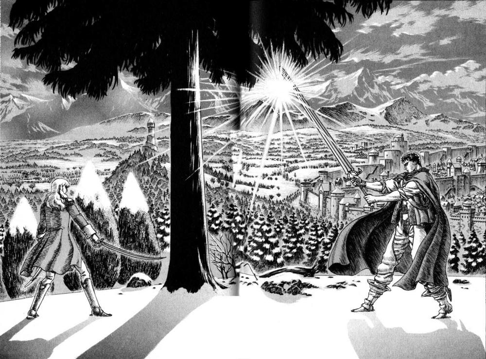 Il secondo duello tra Gatsu e Grifis è uno fra i momenti più suggestivi del manga.
