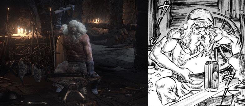 Quello del vecchio fabbro armaiolo è un archetipo diffuso nelle storie di magia, ma vale la pena di sottolineare la somiglianza.