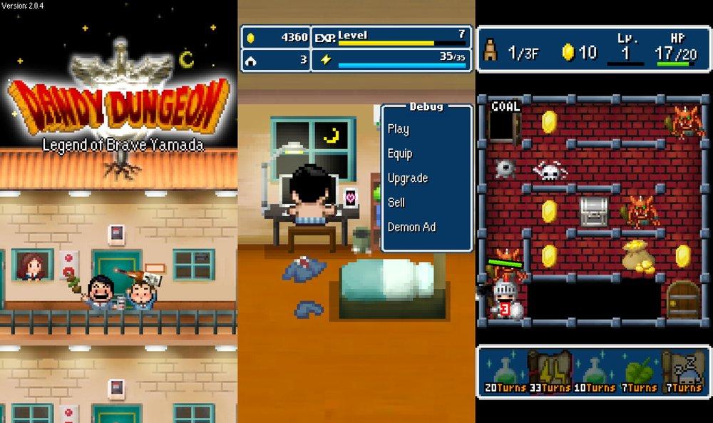 Yamada di  Dandy Dungeon  alle prese con la programmazione del suo gioco indipendente. Uomo Nero not included.