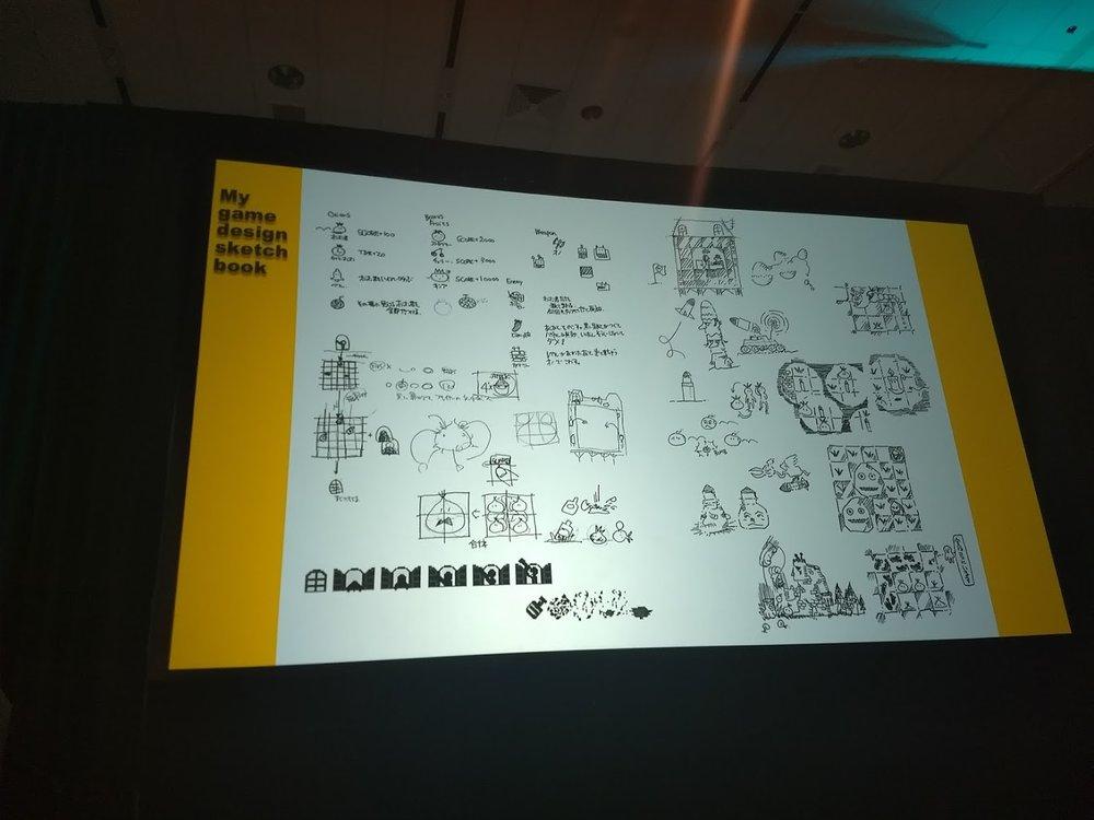 Uno dei bozzetti che Yoshiro ha mostrato durante il suo talk. Si possono notare molti degli elementi di gameplay di  Million Onion Hotel.