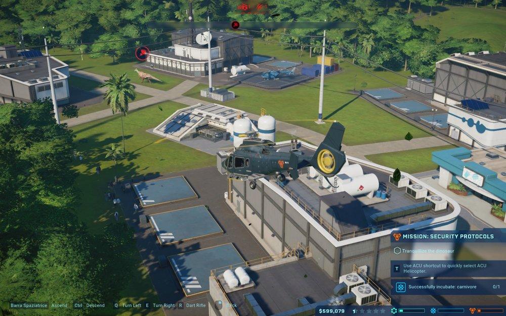 Ci stiamo dirigendo con il nostro elicottero a sedare un dinosauro fuggito dal proprio recinto: non vedete alcun visitatore in giro perché abbiamo tempestivamente aperto i rifugi.
