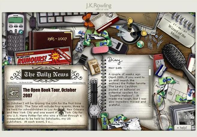 Una decina di anni fa, il sito della scrittrice J. K. Rowling si presentava come un'avventura punta e clicca, che elargiva ai suoi utenti informazioni esclusive riguardanti il mondo magico.