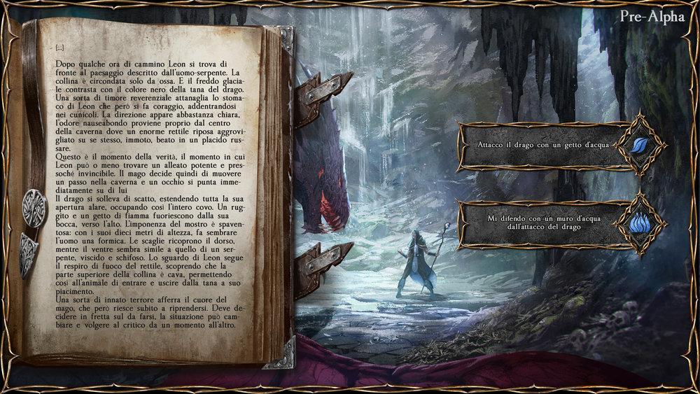 L'interfaccia di gioco, con le sue scelte (e un drago).