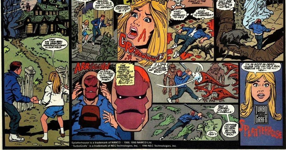 Nel port di  Splatterhouse  per TurboGrafx-16, venne allegato un piccolo fumetto che ricordava  Eeerie  e  Creepshow  e i mitici comics di Zio Tibia degli anni Settanta.