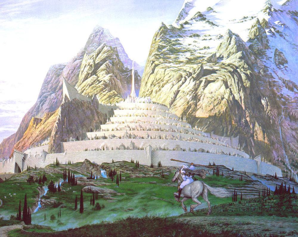 Minas Tirith in una celebre illustrazione di Ted Nasmith, ricorda niente?