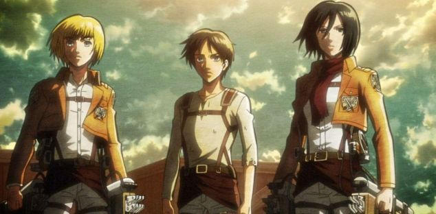 I tre protagonisti de  L'attacco dei giganti : Armin, Eren e Mikasa. Anche se molto presto ci sarà una coralità d'insieme molto più interessante che l'idea del solito e stereotipato un trio di eroi pressoché invincibili.