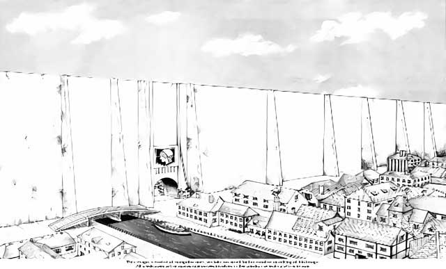 """È interessante notare che il mondo di  Shingeki no Kyojin  è modellato su una dicotomia della cultura norrena: """"innangarðr"""" (all'interno del recinto) e """"útangarðr"""" (oltre il recinto). Ingards (cioè """"dentro"""") era uno spazio in cui si tenevano le leggi di una comunità, opposte agli """"utangards"""", uno spazio esterno di illegalità. Recinzioni e muri separavano simbolicamente i due spazi. Nel mondo di  Shingeki no Kyojin , la presenza di un mondo esterno dei Titani e uno interno degli umani indica questa separazione."""