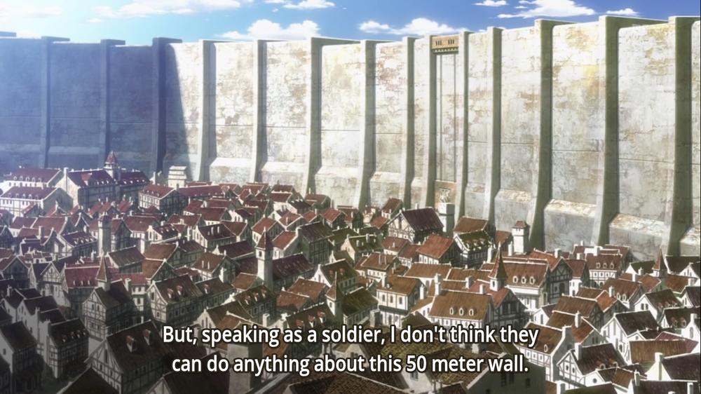 L'anime è davvero attento a ricreare un senso di oppressione da parte delle mura.