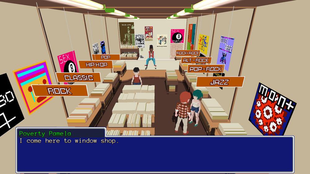 Questi sono gli shop dove comprare equipaggiamento. Che per Alex sono dischi che spiattella in faccia ai nemici. Perché sì.