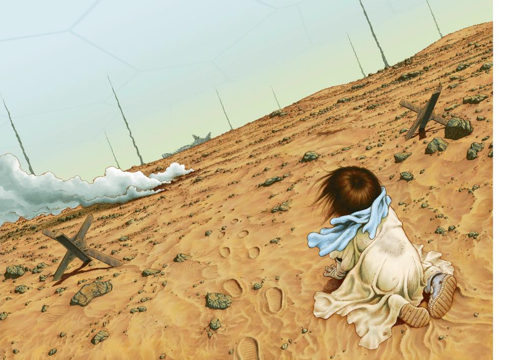 Una bella illustrazione di Yukito Kishiro, tratta dal volume  ARS MAGNA .