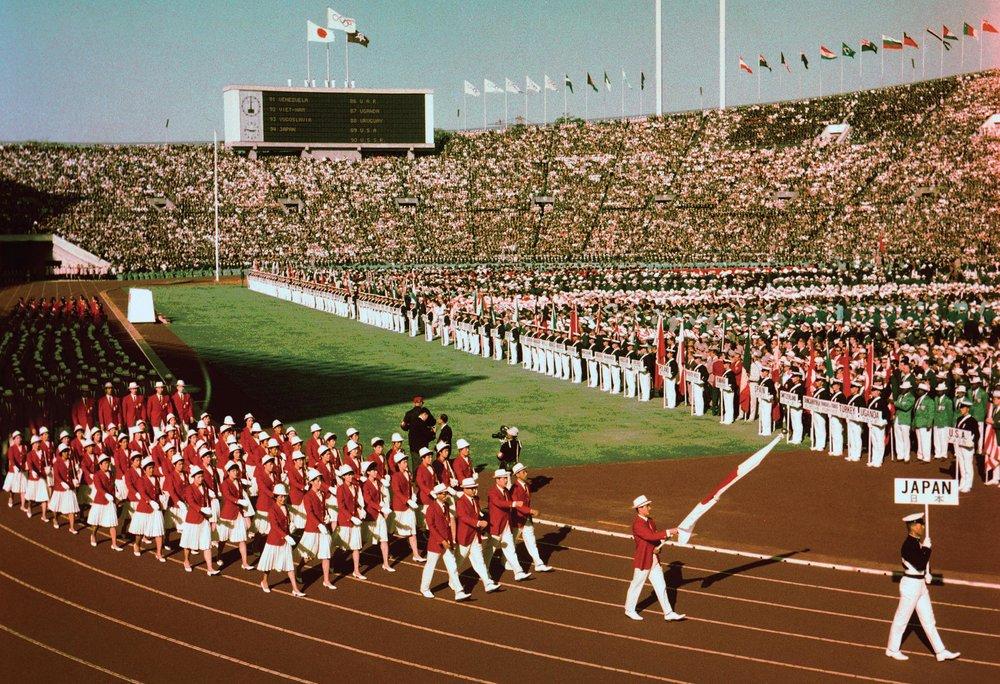 La delegazione giapponese durante l'apertura dei Giochi della XVIII Olimpiade.jpg