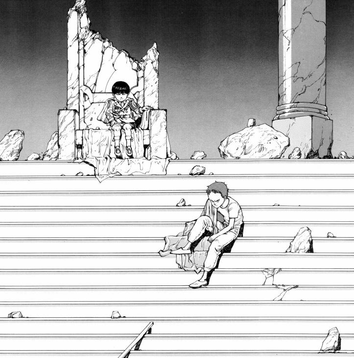 """Tetsuo e il suo """"imperatore"""" fantoccio."""