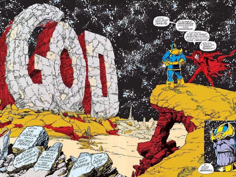 Subito usando il Guanto, Thanos glorifica il suo ego. Ah, le doppie splash page di Geroge Pérez!