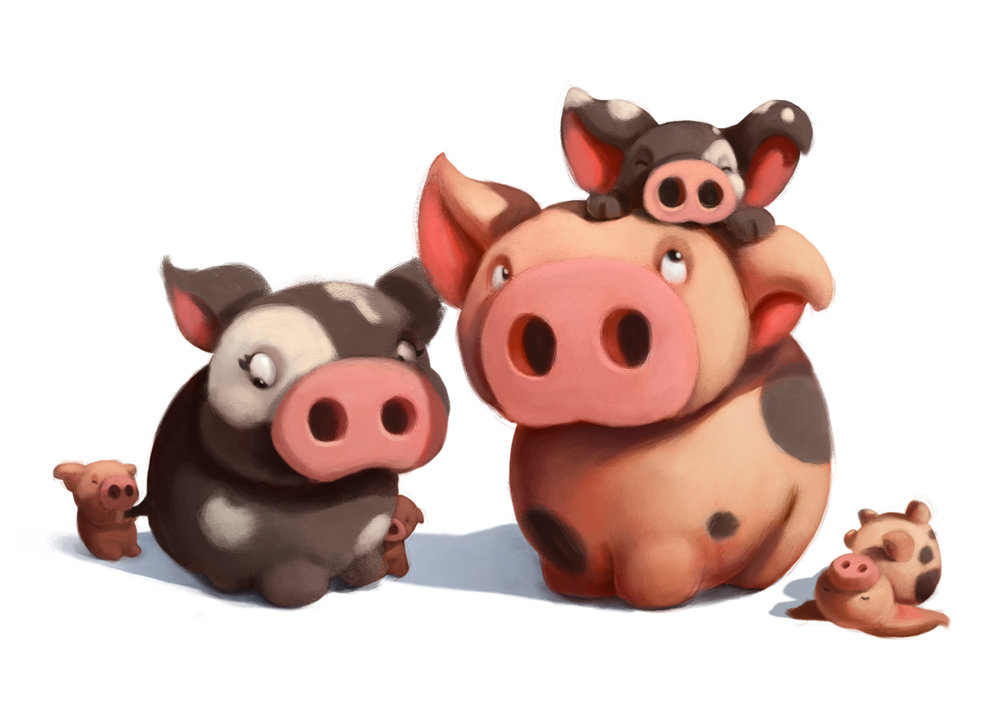 Family of Pigs Painting