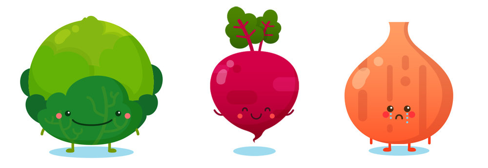 Vegetables (Cabbage, Radish, Onion) - Vector Art